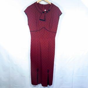 Stop Staring Dresses - STOP STARING! RED POLKA DOT RETRO PINUP DRESS